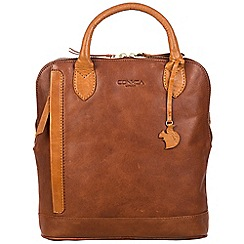 Conkca London - Conker brown and cognac 'Camille' handcrafted leather backpack