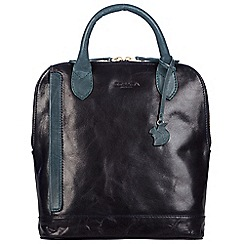 Conkca London - Navy and denim blue 'Camille' handcrafted leather backpack