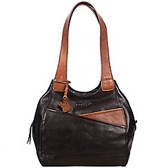 Conkca London - Black and conker brown 'Juliet' handcrafted leather hand bag