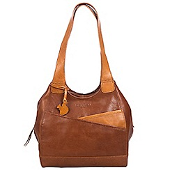 Conkca London - Conker brown and cognac 'Juliet' handcrafted leather hand bag