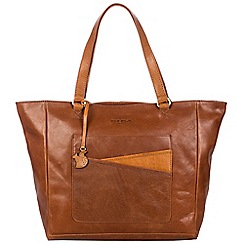 Conkca London - Conker brown and cognac 'Monique' handcrafted leather hand bag