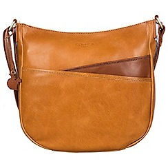 Conkca London - Cognac and conker brown 'India' handcrafted leather cross-body bag