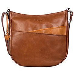 Conkca London - Conker brown and cognac 'India' handcrafted leather cross-body bag