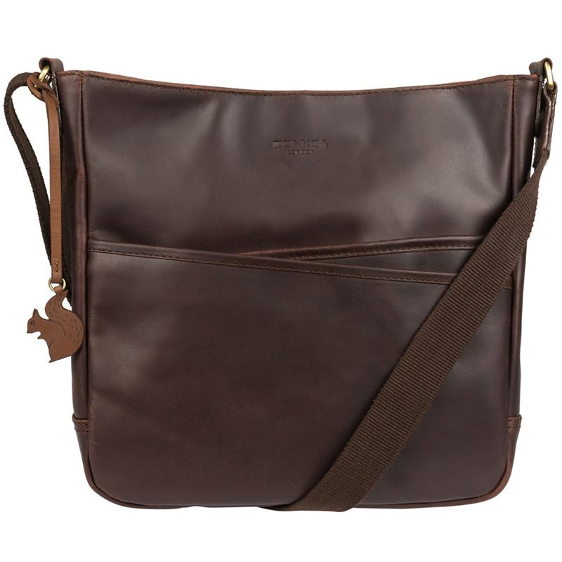 Conkca London - Brown Bow Handcrafted Leather Cross-Body Bag