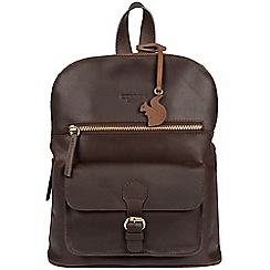 Conkca London - Brown 'Grove' handcrafted leather small backpack