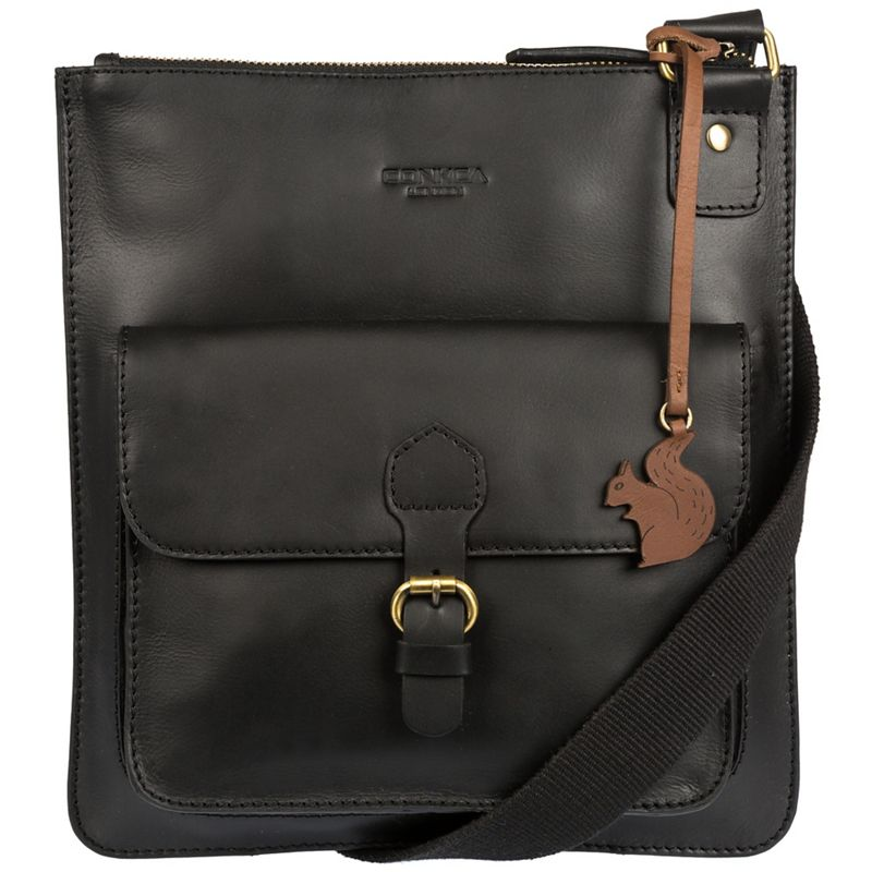 Conkca London Black Archway handcrafted leather across body bag