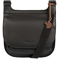 Conkca London - Black 'Kew' handcrafted leather across body bag