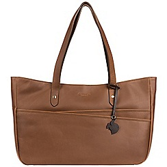 Conkca London - Chestnut 'Heron' handcrafted leather handbag
