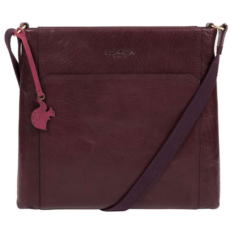 d36d473ed4 Conkca London - Plum  Lina  Leather Cross-Body Bag