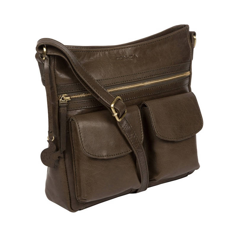 0991bd976d Conkca London - Olive  Bon  Leather Cross-Body Bag