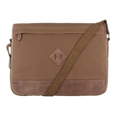 Conkca London Brown ´Portobello´ waxed canvas & leather messenger bag - . -