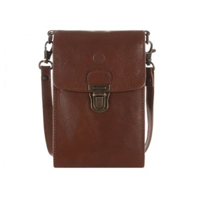 Conkca London Chestnut ´Bank´ leather mini travel or phone bag - . -
