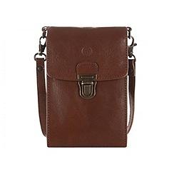 Conkca London - Chestnut 'Bank' leather mini travel or phone bag