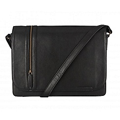 Cultured London - Black 'Rory' cotton-lined messenger bag