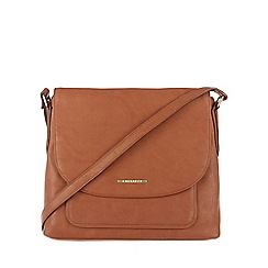 Cultured London - Tan 'Selma' cotton-lined cross-body bag