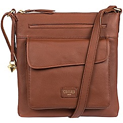 Cultured London - Brown 'Etta' soft leather cross body bag