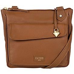 Cultured London - Tan 'Aisha' soft leather cross body bag