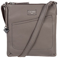 Cultured London - Dark grey 'Bliss' soft leather slim cross body bag