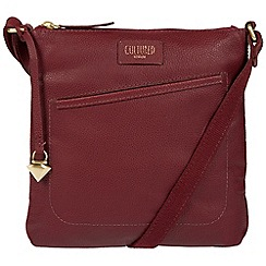 Cultured London - Ruby Red 'Bliss' soft leather cross-body bag