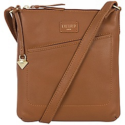 Cultured London - Tan 'Bliss' soft leather slim cross body bag