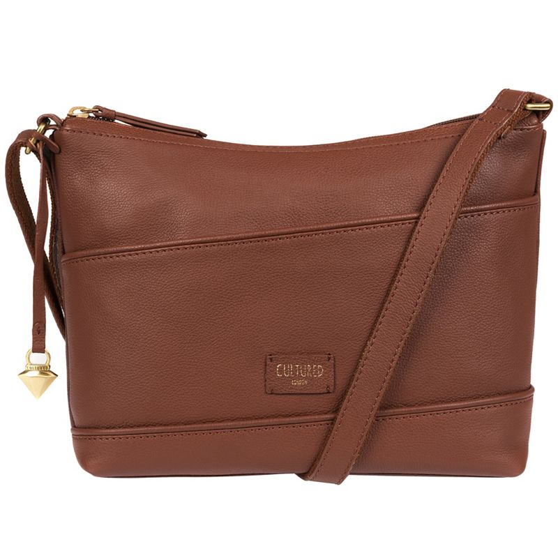 Cultured London - Sienna Brown Delilah Soft Leather Cross-Body Bag