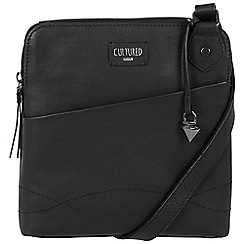 Cultured London - Black 'Jayne' soft leather slim cross body bag