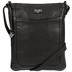 Cultured London - Black 'Margo' real leather cross-body bag