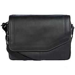 Cultured London - Black 'Reaction' buffalo leather messenger bag