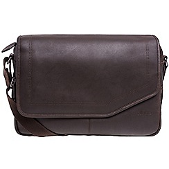 Cultured London - Dark brown 'Reaction' buffalo leather messenger bag