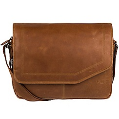 Cultured London - Chestnut 'Reaction' buffalo leather messenger bag
