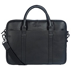 Cultured London - Black 'Assignment' buffalo leather work bag
