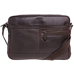 Cultured London - Dark brown 'Trek' buffalo leather messenger bag