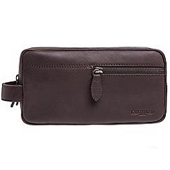 Cultured London - Dark brown 'Creek' buffalo leather wash bag