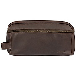 Cultured London - Dark brown 'Flip' buffalo leather wash bag