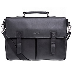 Cultured London - Black 'Task' buffalo leather 14-inch laptop briefcase