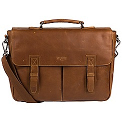 Cultured London - Chestnut 'Task' buffalo leather 14-inch laptop briefcase
