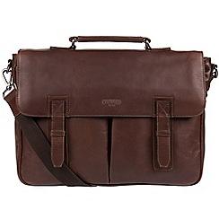 Cultured London - Dark Brown 'Task' 14-inch leather laptop briefcase