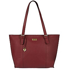 Cultured London - Ruby red 'Penny' leather tote bag
