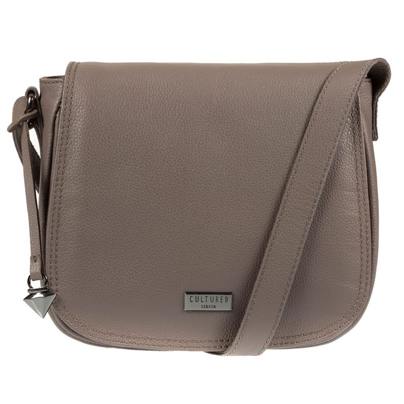 Cultured London - Grey Pollencia Leather Cross-Body Bag