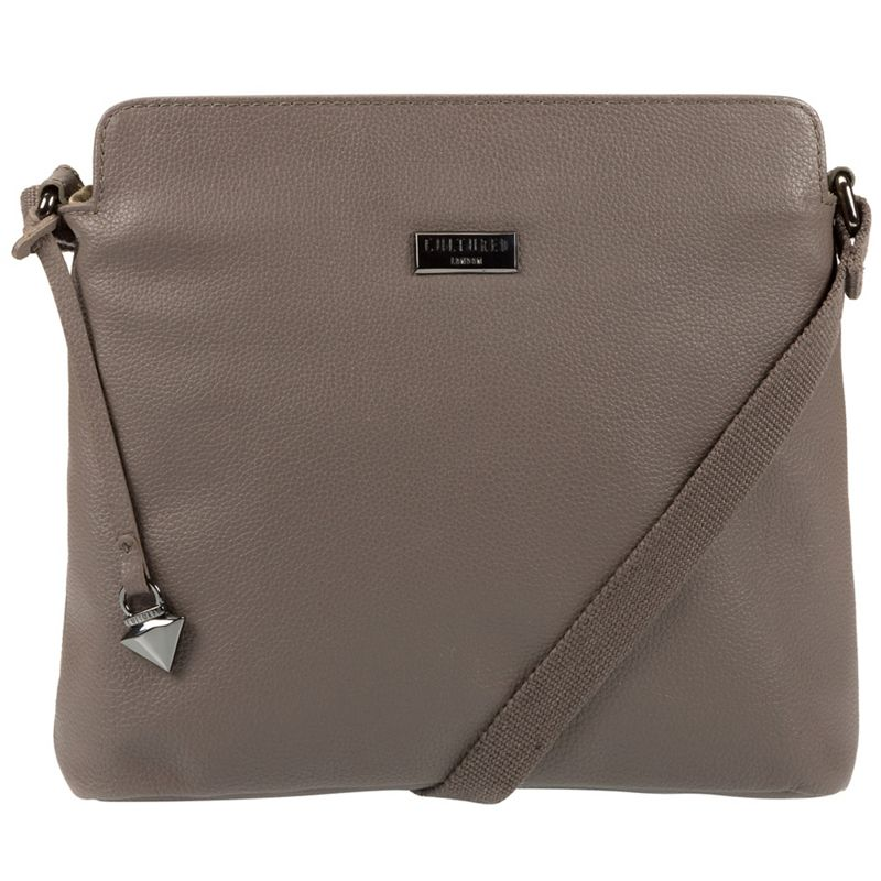 Cultured London - Grey Solair Leather Cross-Body Bag