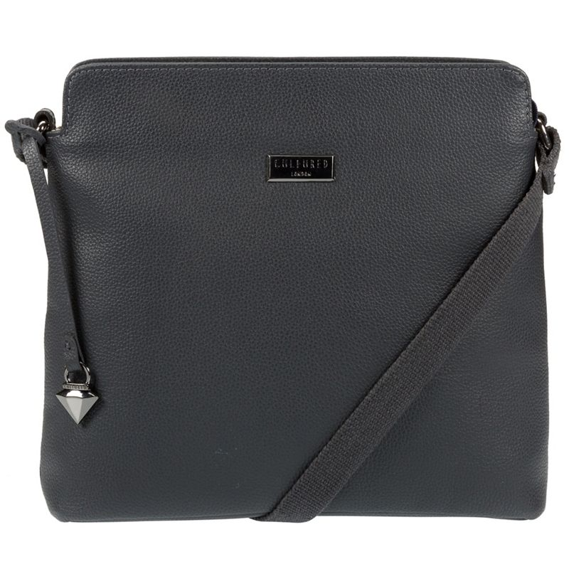 Cultured London - Navy Solair Leather Cross-Body Bag