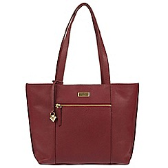 Cultured London - Ruby Red 'Bella' leather tote bag