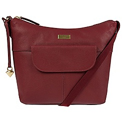 Cultured London - Ruby red 'Emma' leather hobo bag