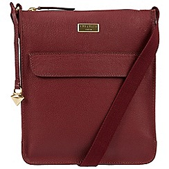 Cultured London - Ruby red 'Bonnie' leather cross-body bag