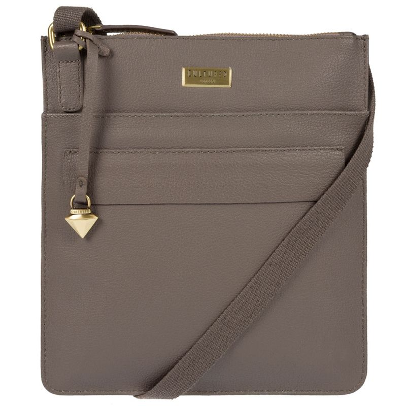 Cultured London - Taupe Jolie Leather Cross-Body Bag