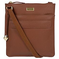 Cultured London - Sienna brown 'Jolie' leather cross-body bag