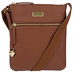 Cultured London - Sienna Brown 'Halle' leather cross-body bag