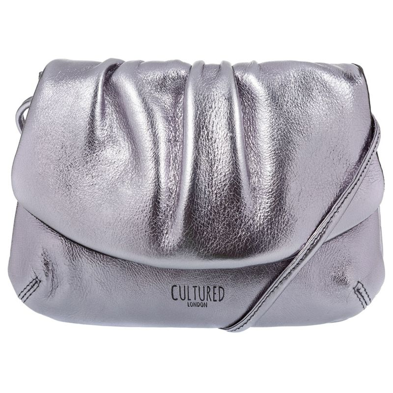 Cultured London Pewter Serena soft cowhide evening cross-body bag