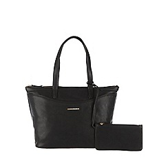 Cultured London - Black 'Leona' cotton-lined large handbag with zipped security pouch