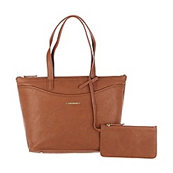 Cultured London - Tan 'Leona' large handbag with zipped security pouch